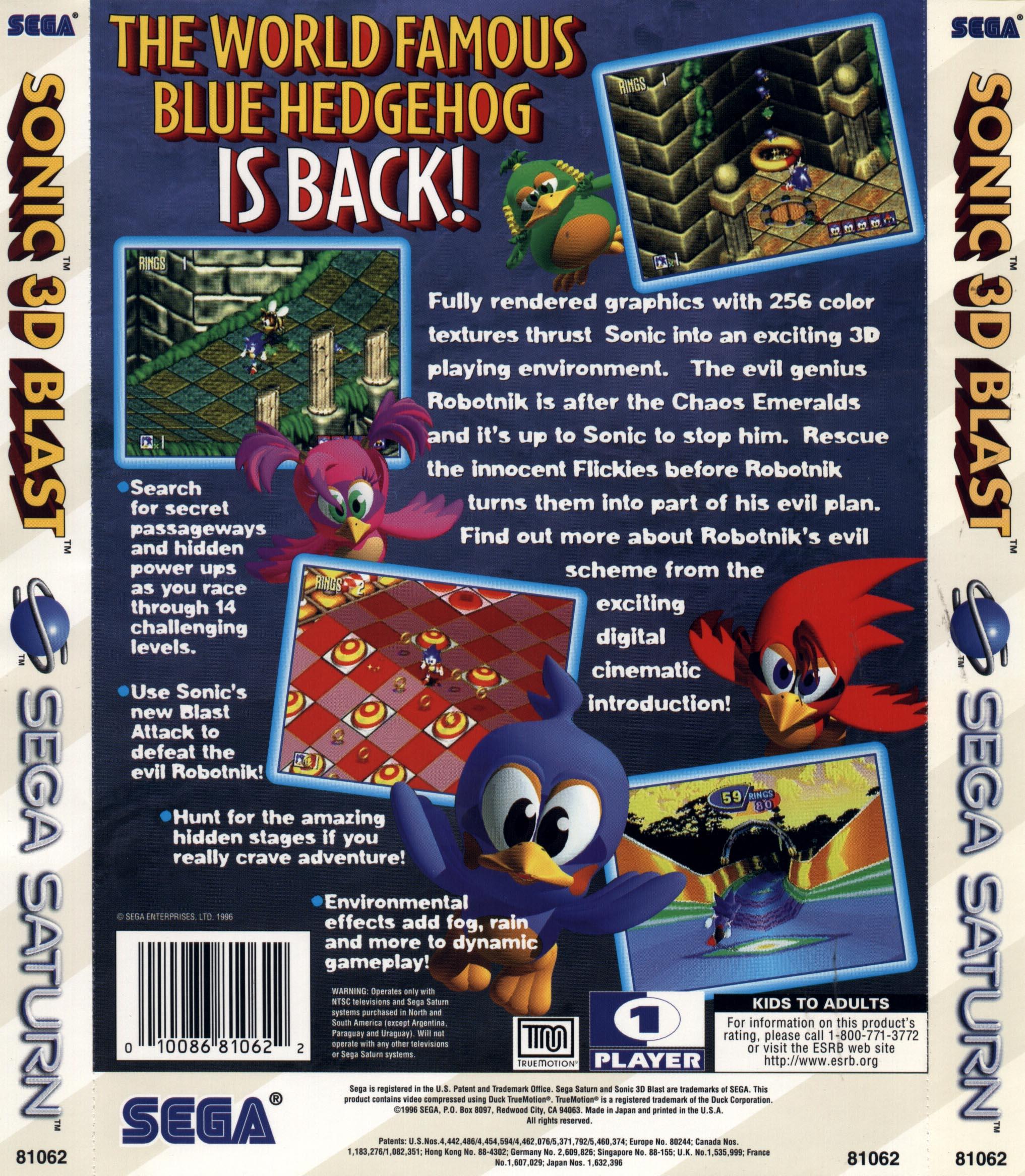 File:Sonic 3D Blast us back jpg - Sonic Retro