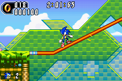Sonic Using A Grind Rail In Leaf Forest