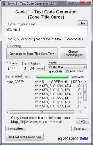 Sonic 1 - Text Code Generator - Sonic Retro