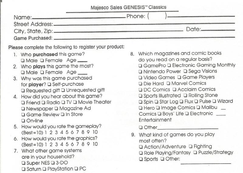 File:Sonic3 MD US mhs regcard pdf - Sonic Retro